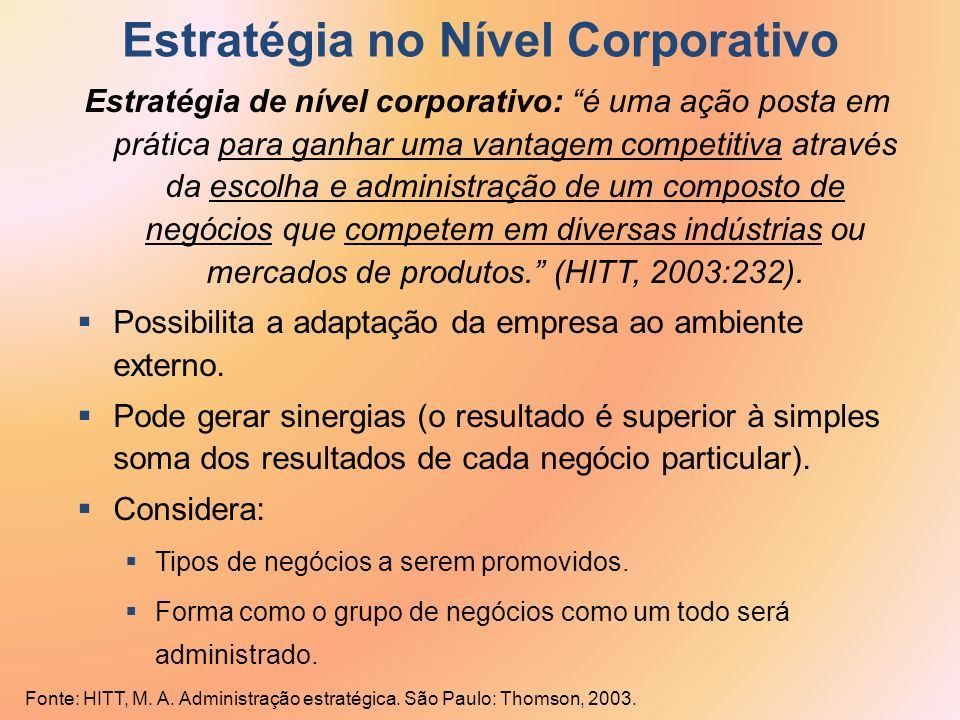 Estratégia no Nível Corporativo