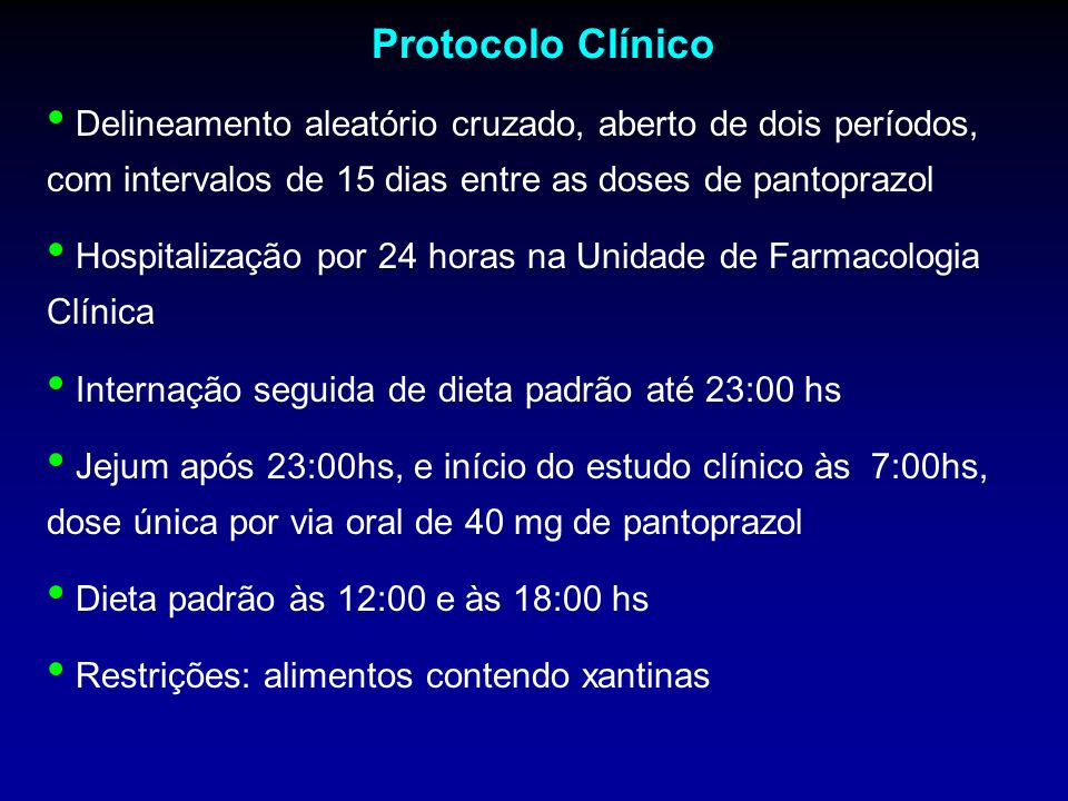 Protocolo ClínicoDelineamento aleatório cruzado, aberto de dois períodos, com intervalos de 15 dias entre as doses de pantoprazol.