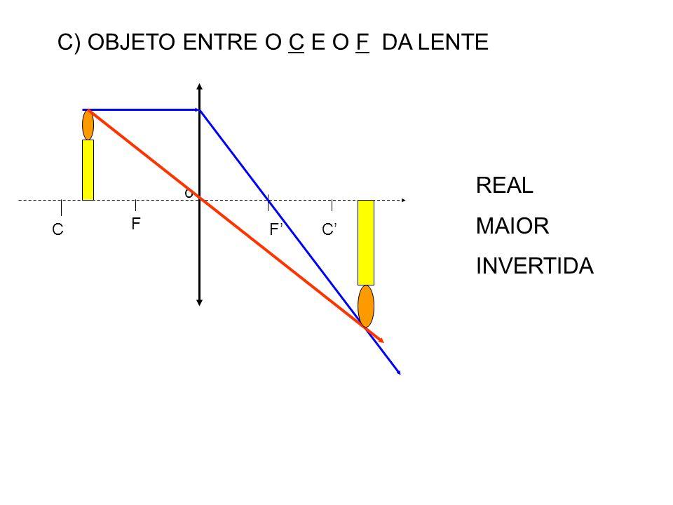 C) OBJETO ENTRE O C E O F DA LENTE