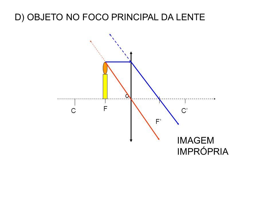 D) OBJETO NO FOCO PRINCIPAL DA LENTE