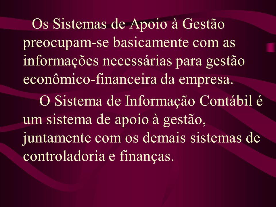 Os Sistemas de Apoio à Gestão preocupam-se basicamente com as informações necessárias para gestão econômico-financeira da empresa.