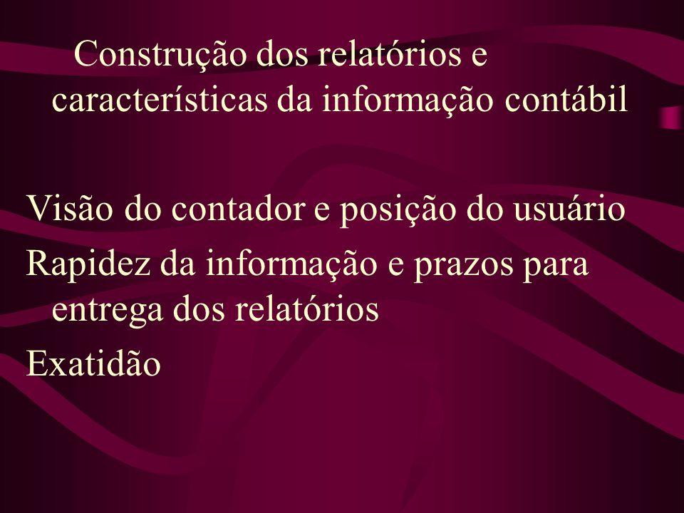 Construção dos relatórios e características da informação contábil