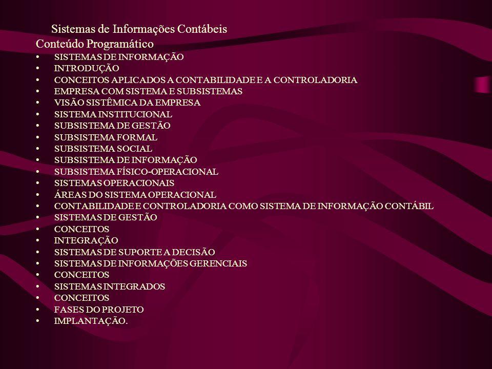Sistemas de Informações Contábeis Conteúdo Programático