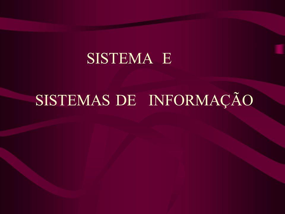 SISTEMA E SISTEMAS DE INFORMAÇÃO