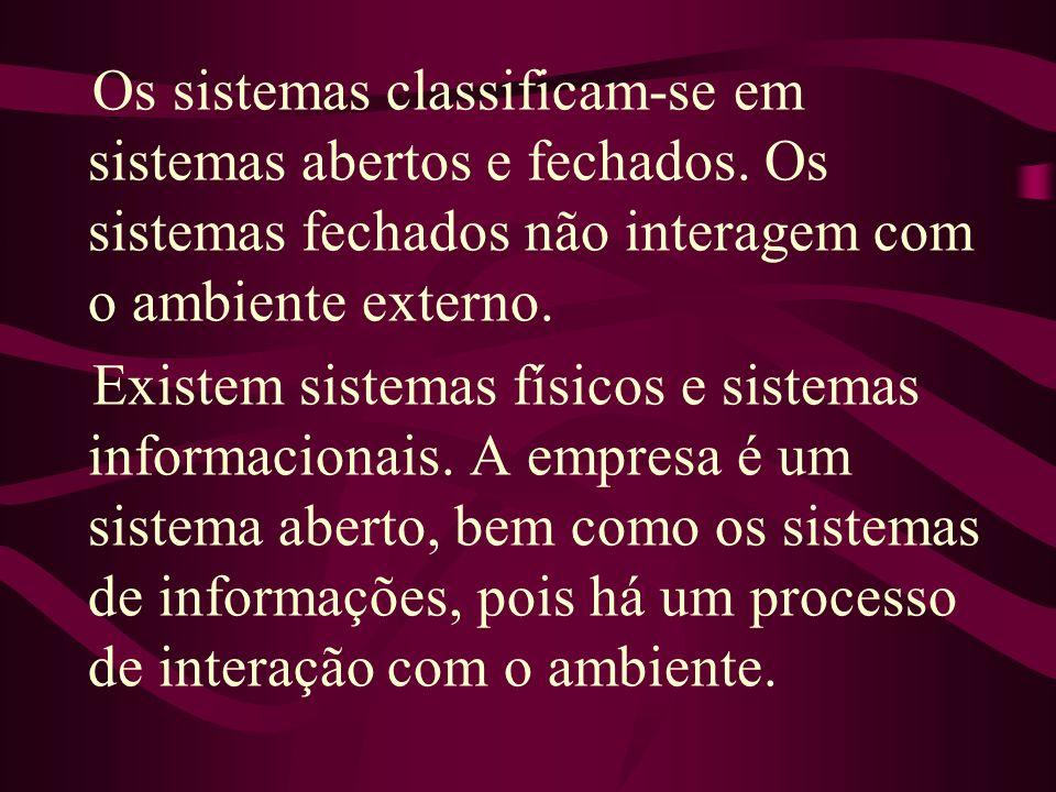 Os sistemas classificam-se em sistemas abertos e fechados