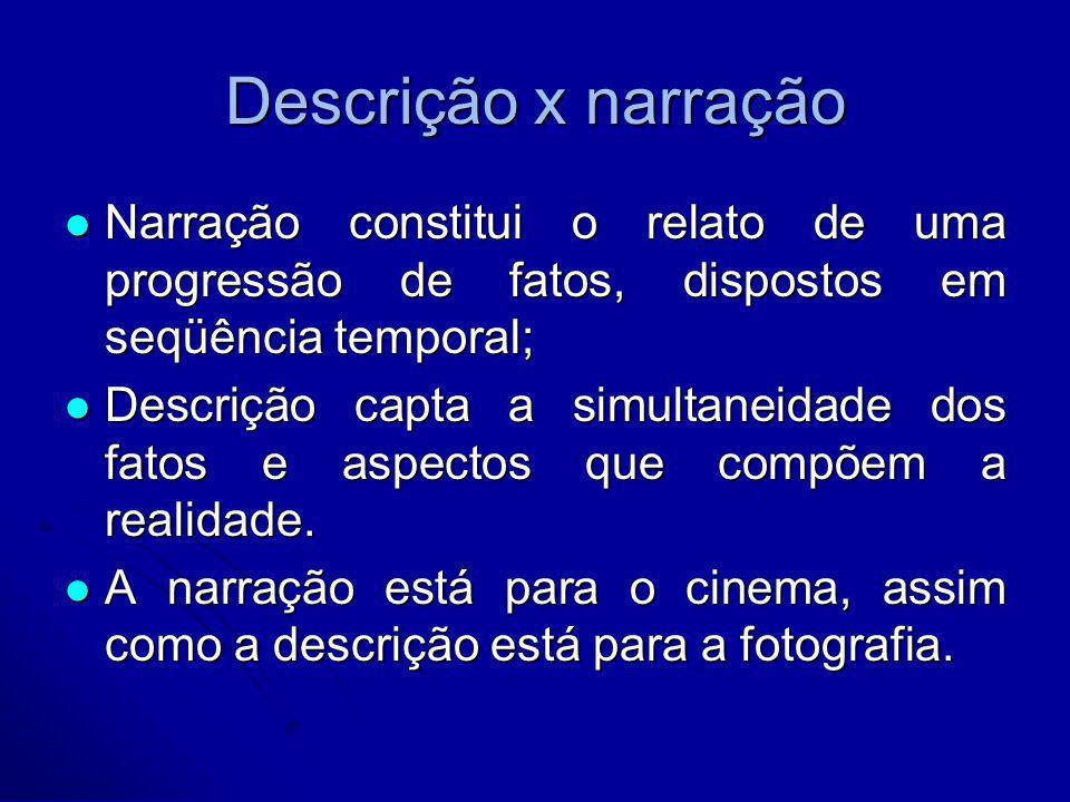 Descrição x narraçãoNarração constitui o relato de uma progressão de fatos, dispostos em seqüência temporal;