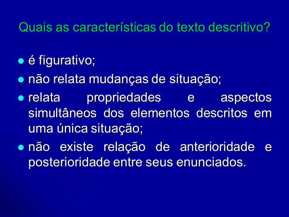 Quais as características do texto descritivo