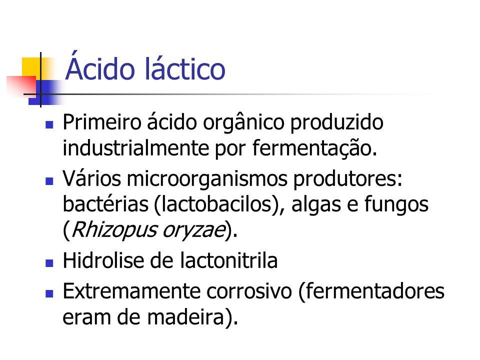 Ácido láctico Primeiro ácido orgânico produzido industrialmente por fermentação.