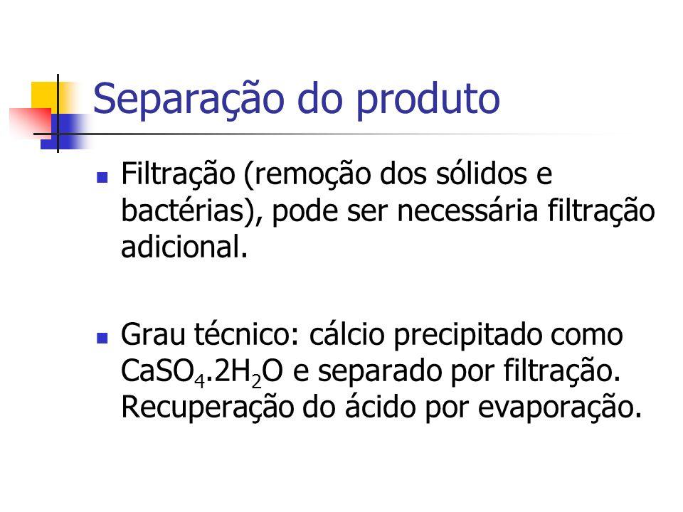 Separação do produto Filtração (remoção dos sólidos e bactérias), pode ser necessária filtração adicional.