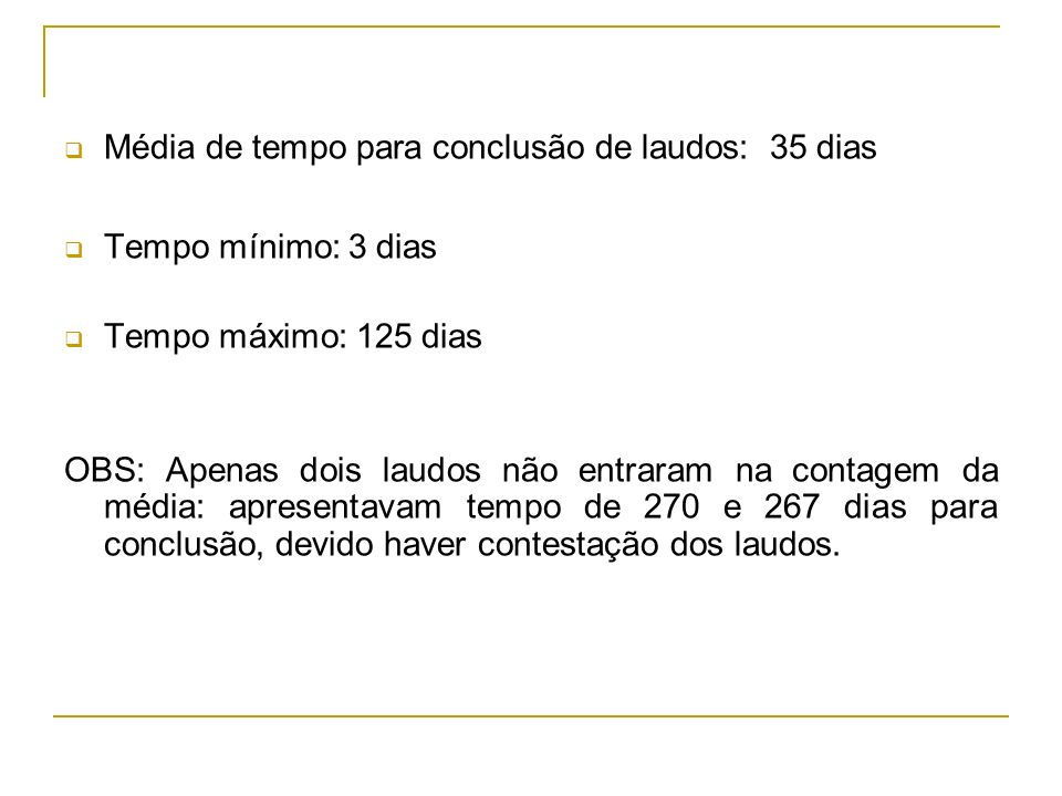 Média de tempo para conclusão de laudos: 35 dias
