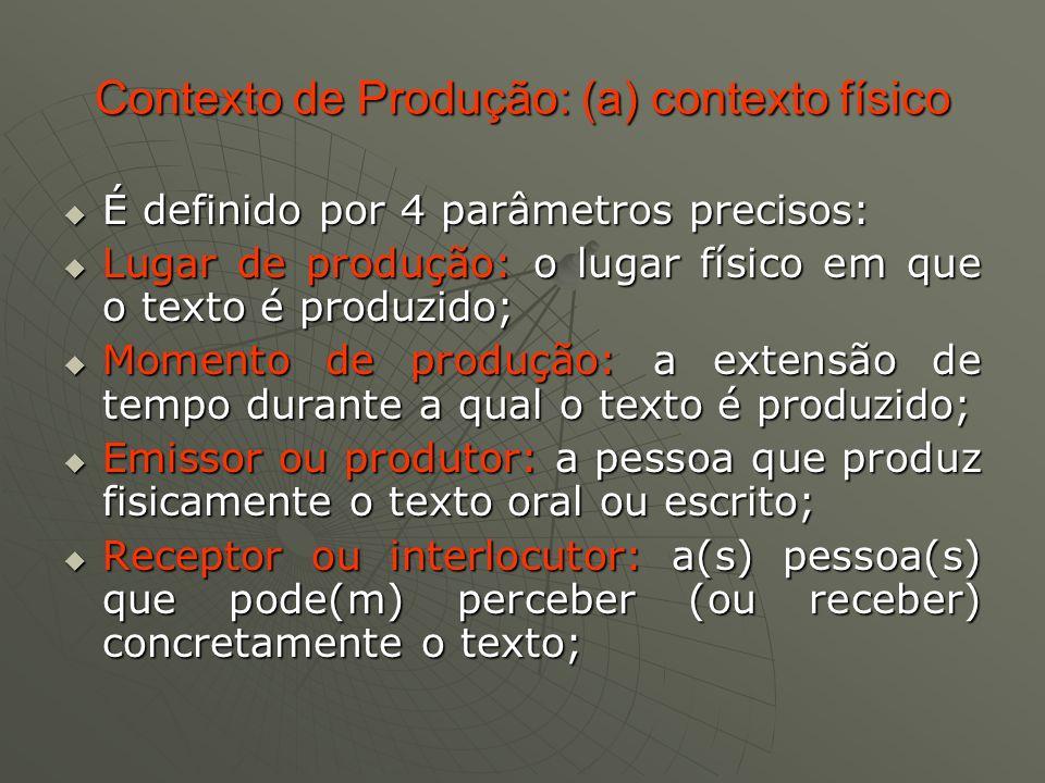 Contexto de Produção: (a) contexto físico