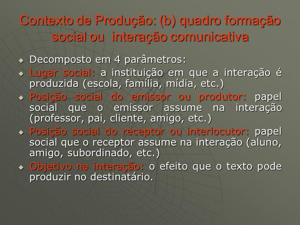 Contexto de Produção: (b) quadro formação social ou interação comunicativa