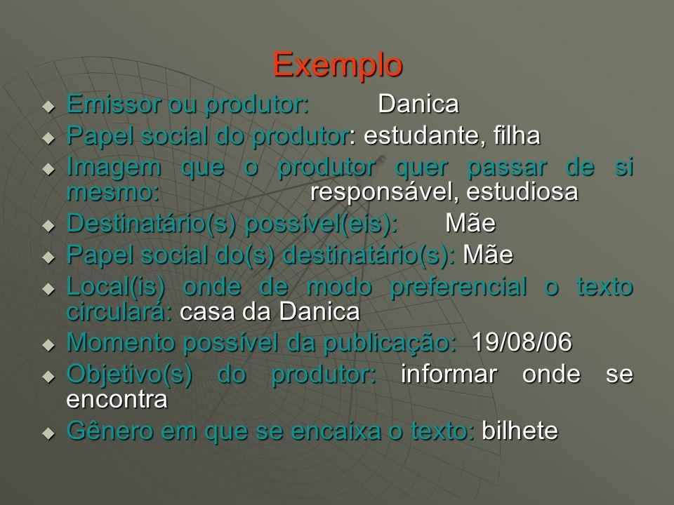 Exemplo Emissor ou produtor: Danica