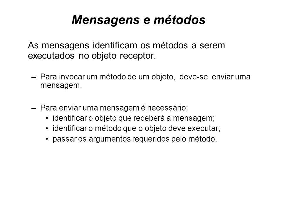 Mensagens e métodos As mensagens identificam os métodos a serem executados no objeto receptor.