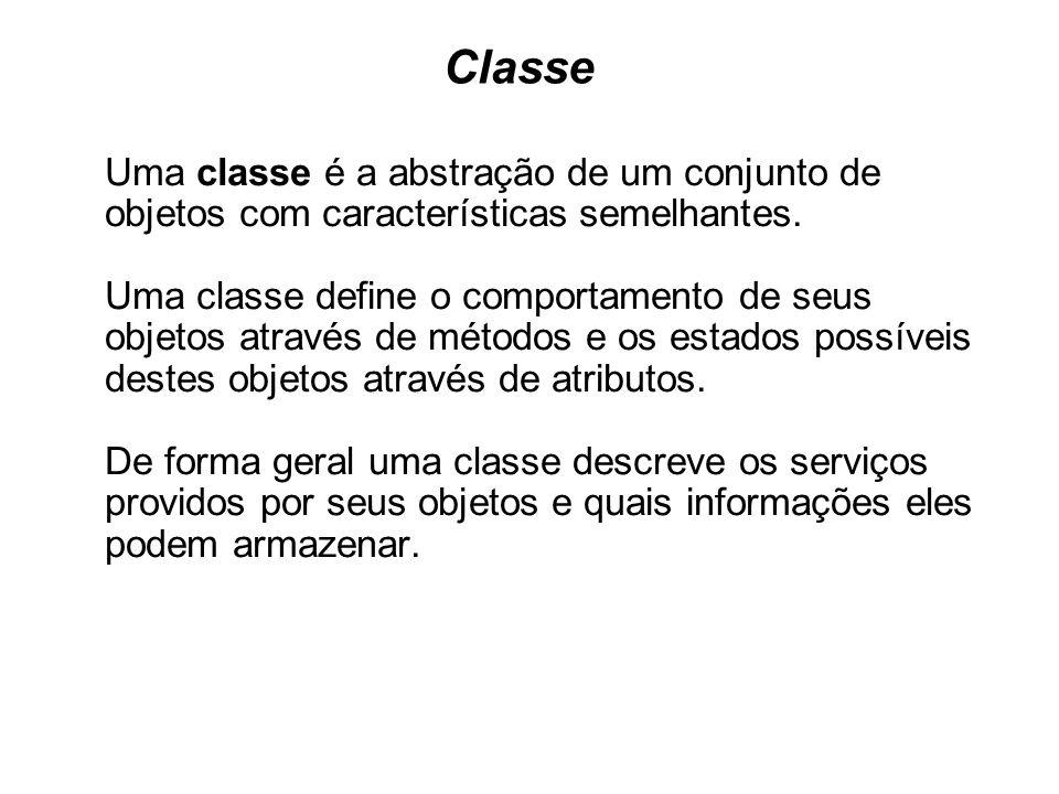 Classe Uma classe é a abstração de um conjunto de objetos com características semelhantes.