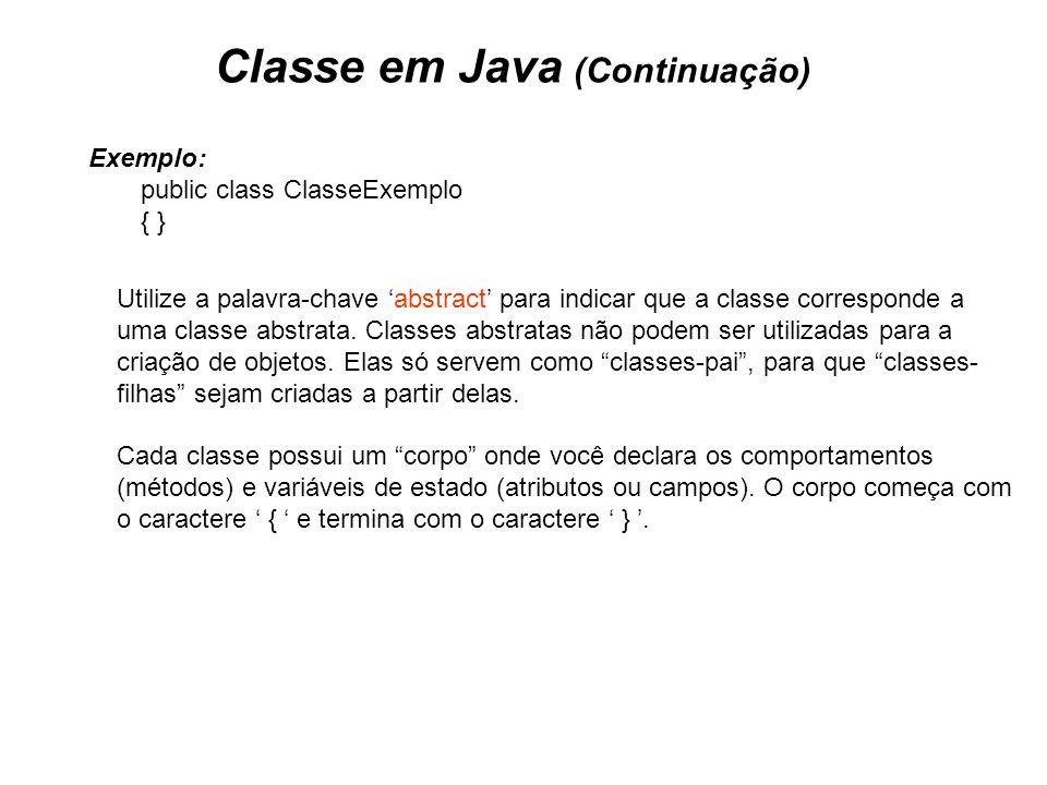 Classe em Java (Continuação)