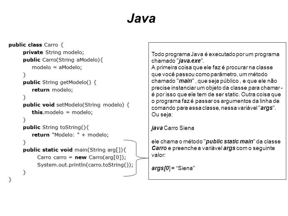 Javapublic class Carro { private String modelo; public Carro(String aModelo){ modelo = aModelo; } public String getModelo() {