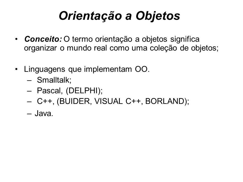 Orientação a ObjetosConceito: O termo orientação a objetos significa organizar o mundo real como uma coleção de objetos;