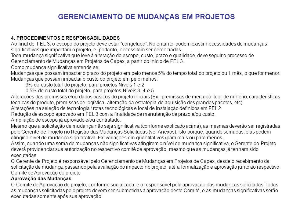 GERENCIAMENTO DE MUDANÇAS EM PROJETOS