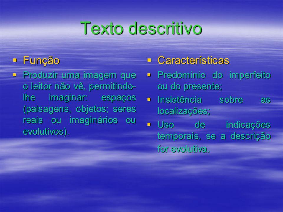 Texto descritivo Função Características