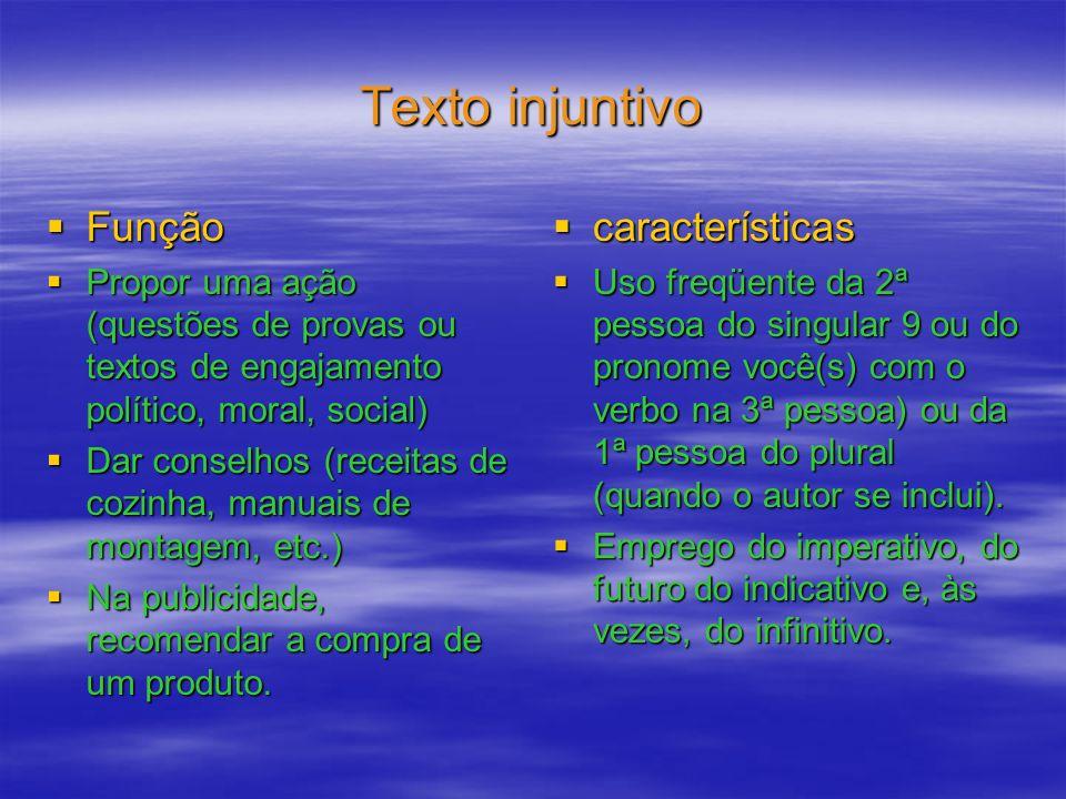 Texto injuntivo Função características