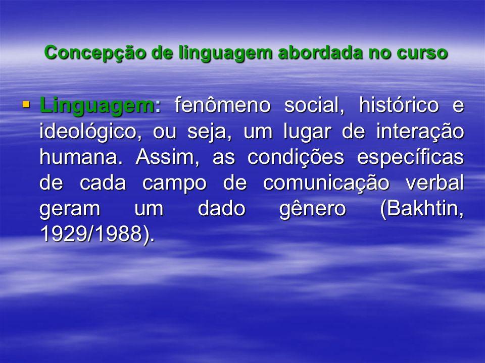 Concepção de linguagem abordada no curso