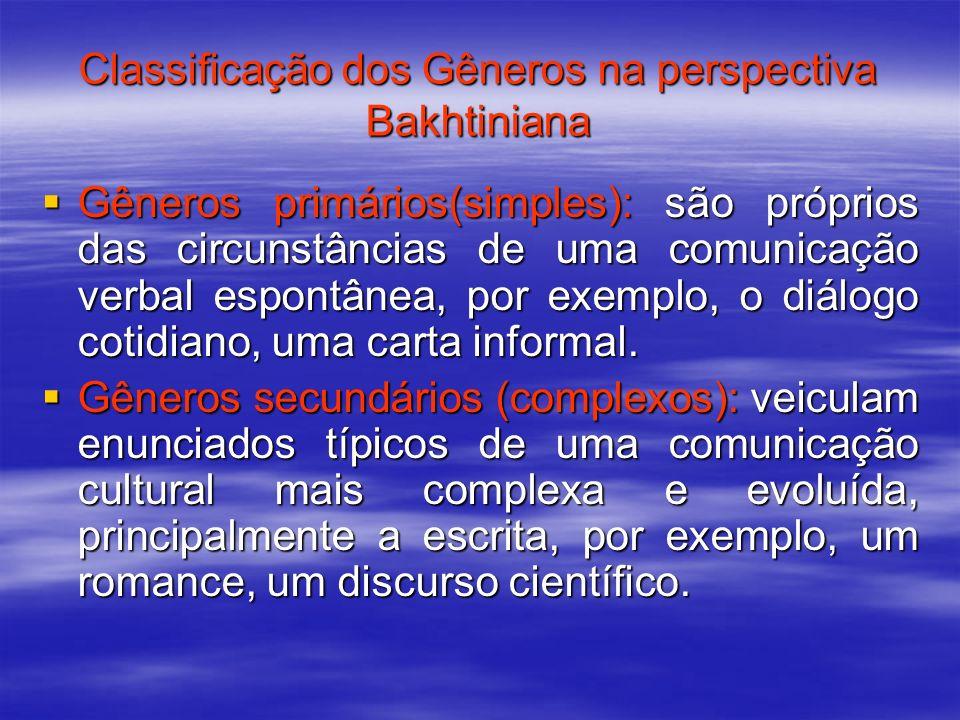 Classificação dos Gêneros na perspectiva Bakhtiniana
