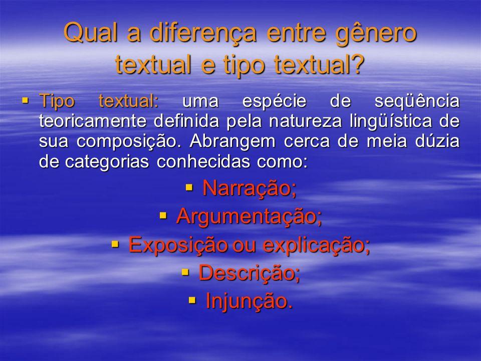 Qual a diferença entre gênero textual e tipo textual