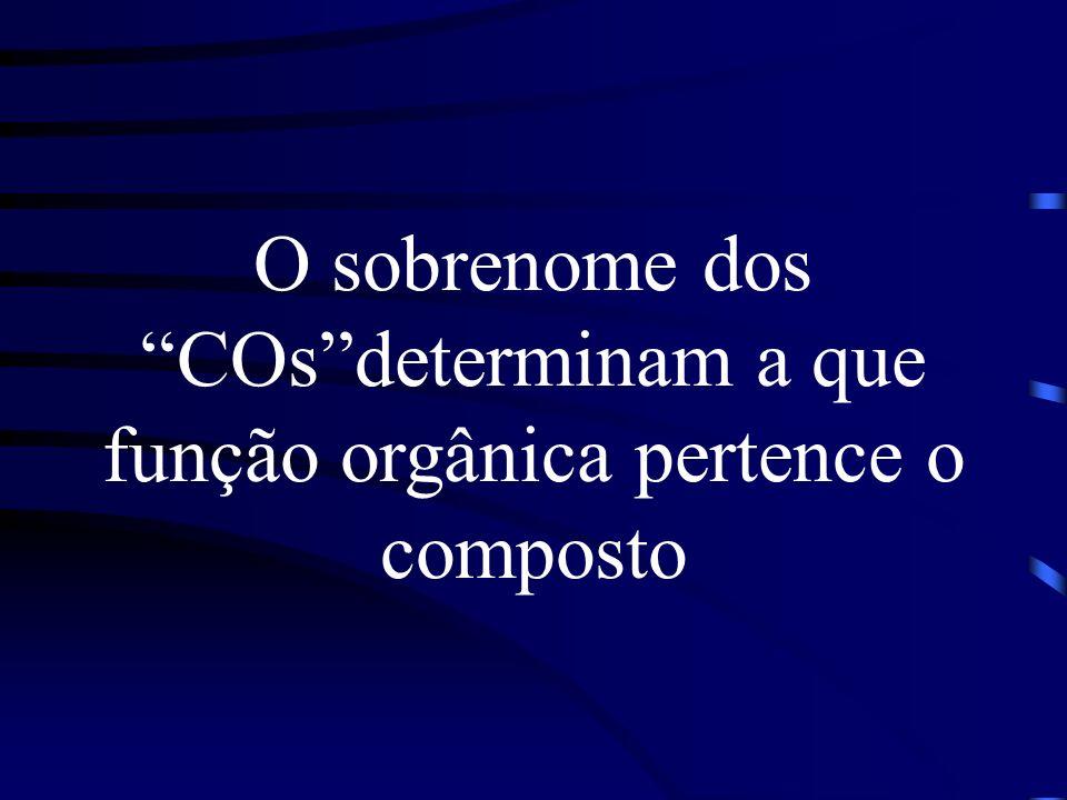 O sobrenome dos COs determinam a que função orgânica pertence o composto