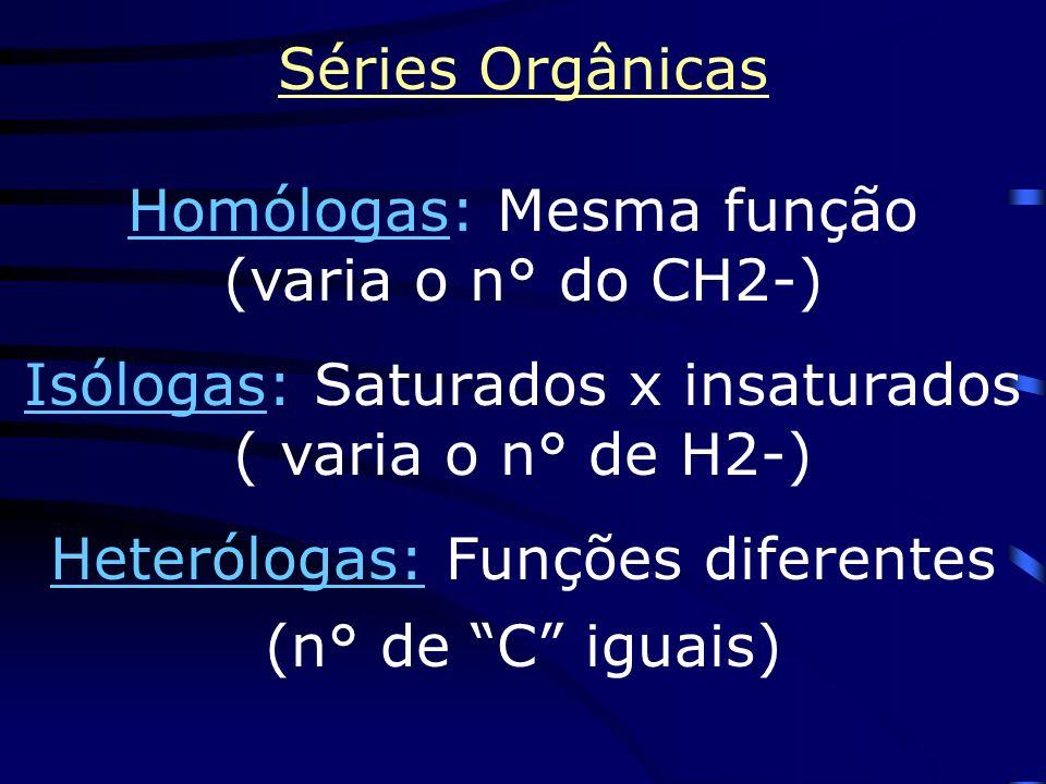 Homólogas: Mesma função (varia o n° do CH2-)