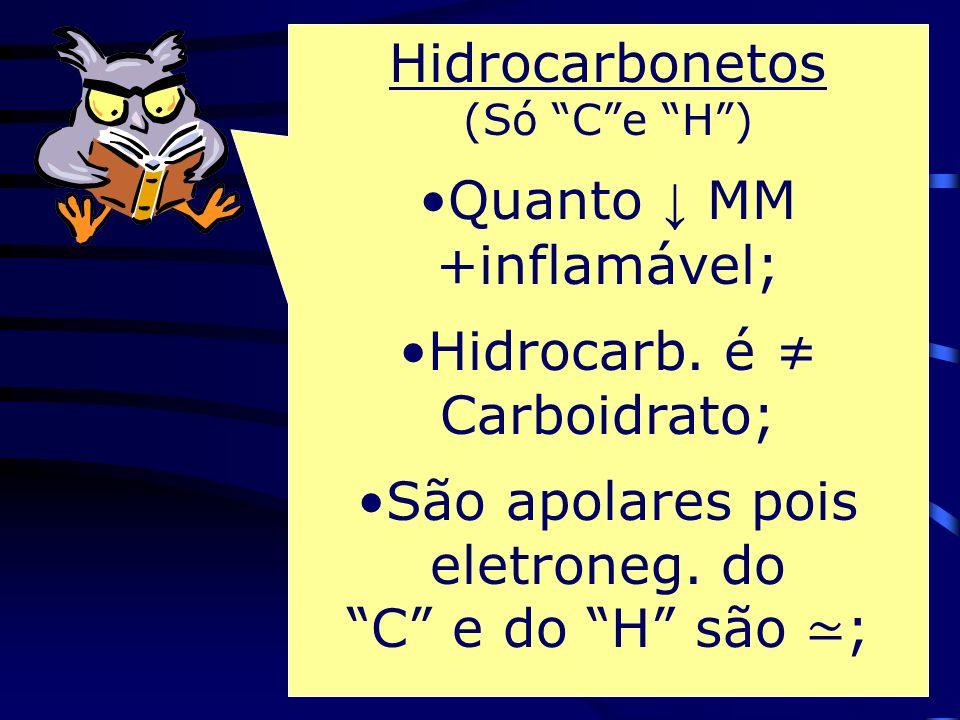 Quanto ↓ MM +inflamável; Hidrocarb. é ≠ Carboidrato;