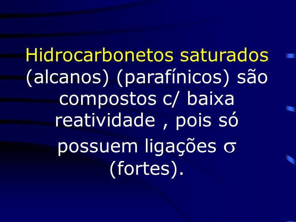 Hidrocarbonetos saturados (alcanos) (parafínicos) são compostos c/ baixa reatividade , pois só possuem ligações  (fortes).