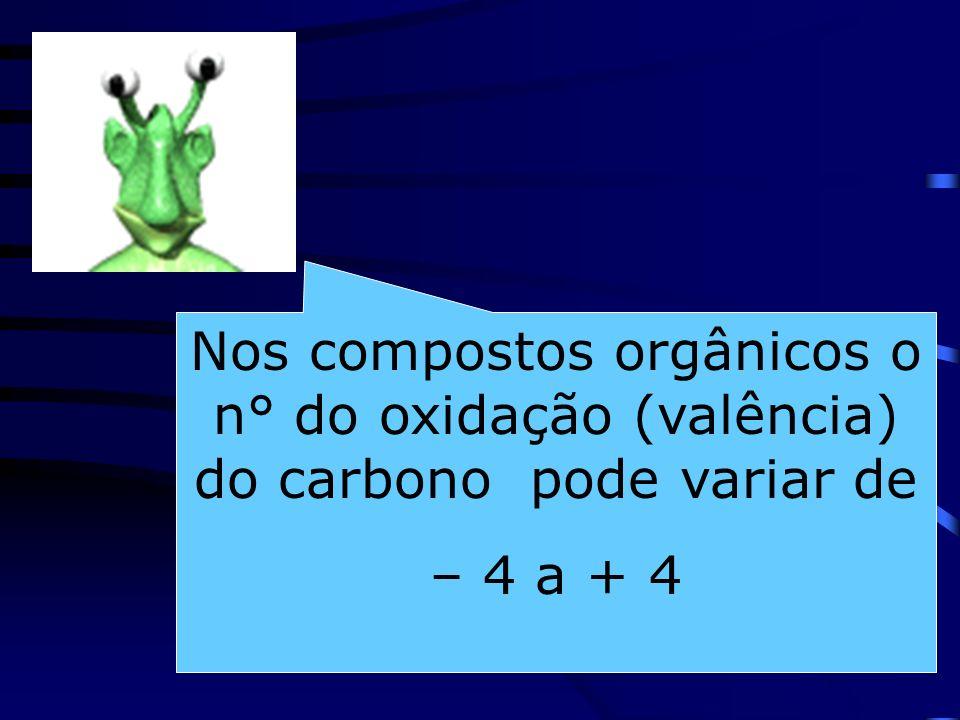 Nos compostos orgânicos o n° do oxidação (valência) do carbono pode variar de