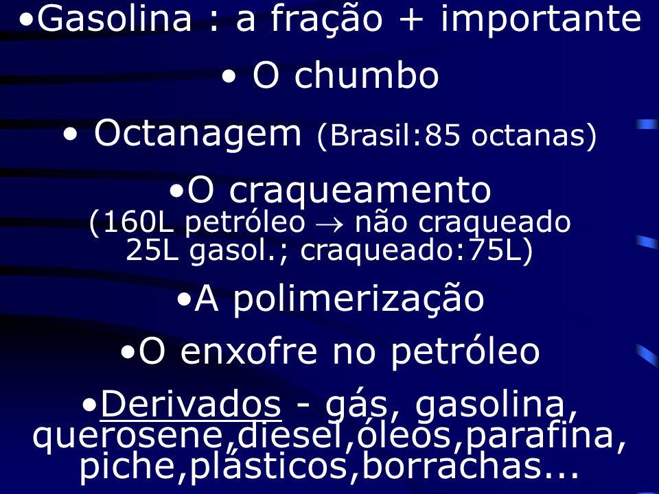 Gasolina : a fração + importante O chumbo