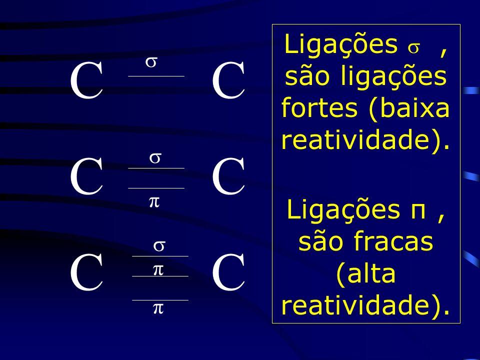 C C Ligações  , são ligações fortes (baixa reatividade).