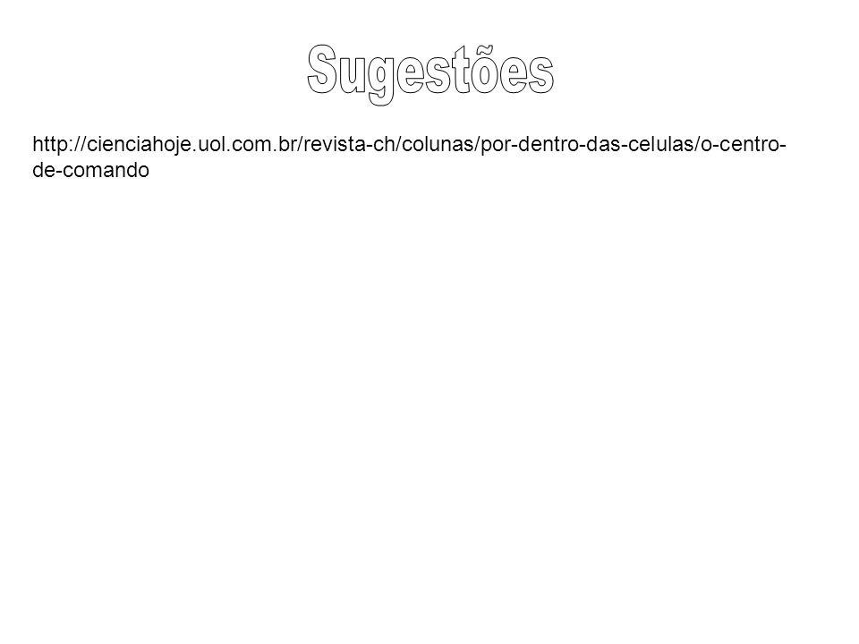 Sugestões http://cienciahoje.uol.com.br/revista-ch/colunas/por-dentro-das-celulas/o-centro-de-comando.