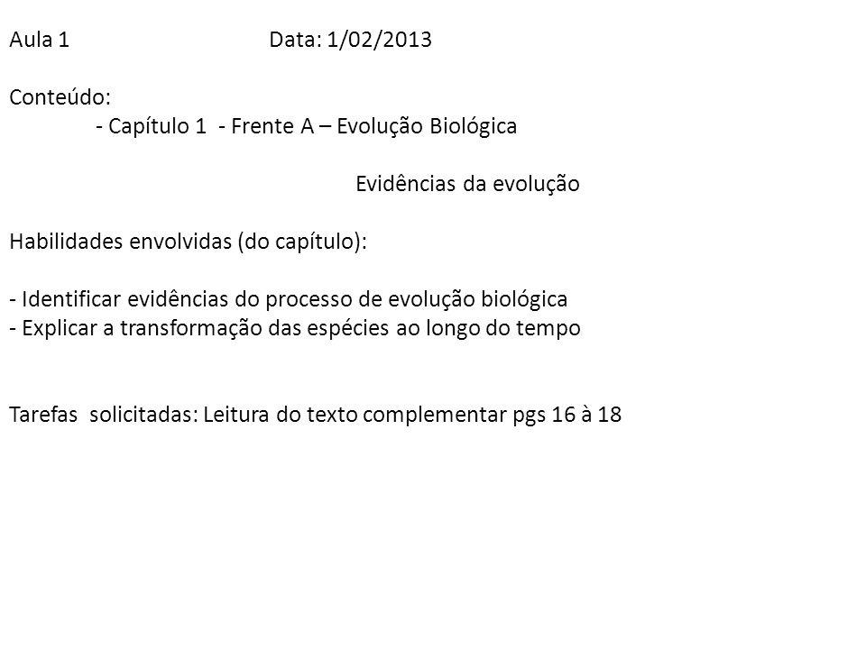 Aula 1 Data: 1/02/2013 Conteúdo: - Capítulo 1 - Frente A – Evolução Biológica. Evidências da evolução.