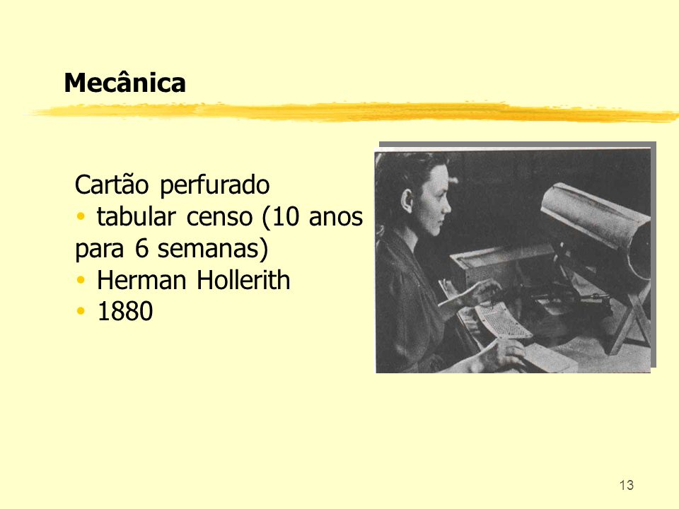 Mecânica Cartão perfurado tabular censo (10 anos para 6 semanas) Herman Hollerith 1880