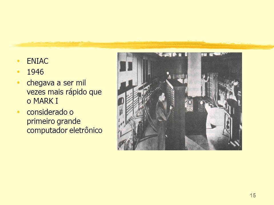 ENIAC 1946. chegava a ser mil vezes mais rápido que o MARK I.