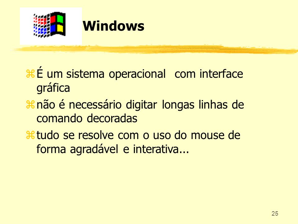 Windows É um sistema operacional com interface gráfica