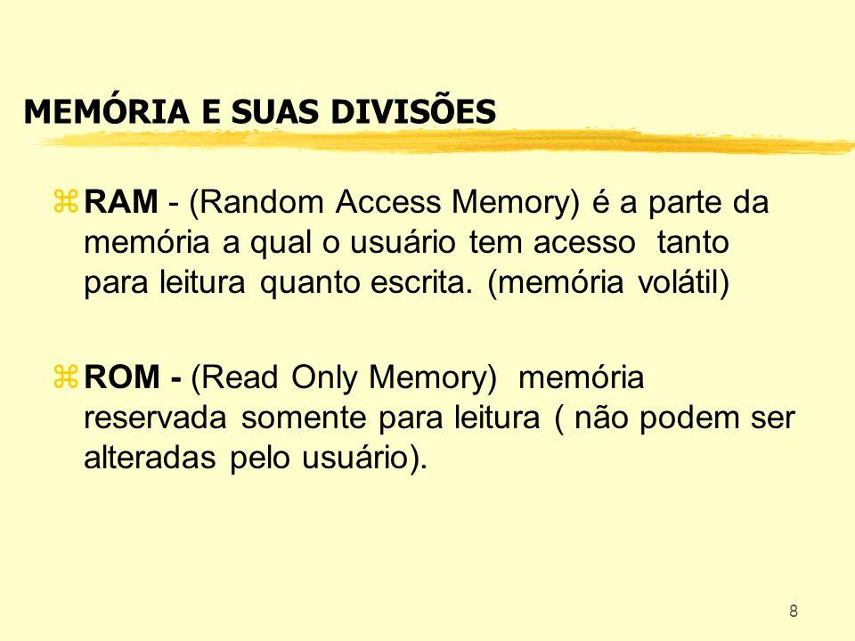 MEMÓRIA E SUAS DIVISÕES