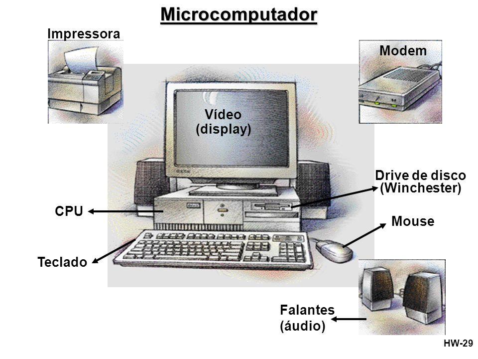 Microcomputador Impressora Modem Vídeo (display) Drive de disco