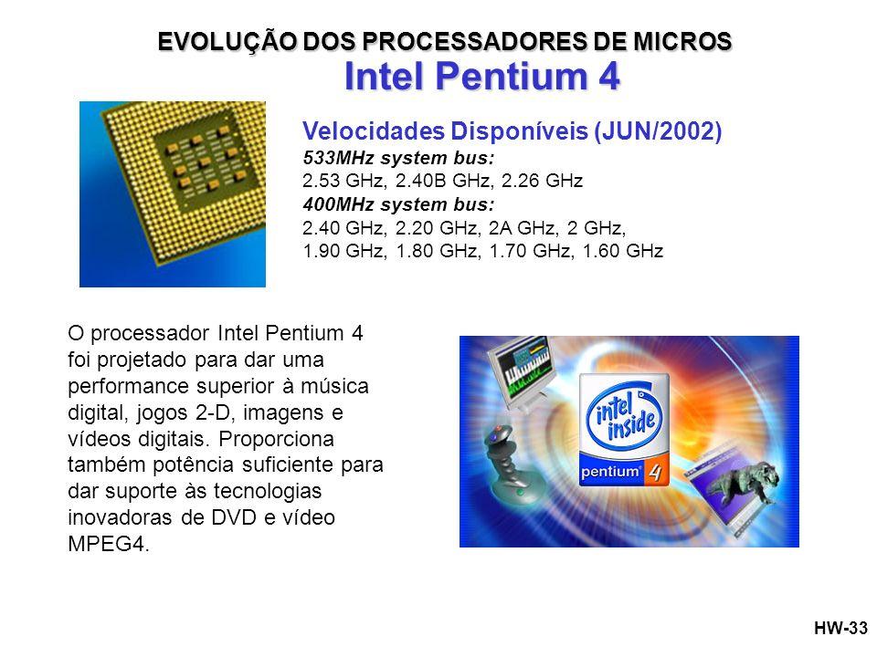 Intel Pentium 4 EVOLUÇÃO DOS PROCESSADORES DE MICROS