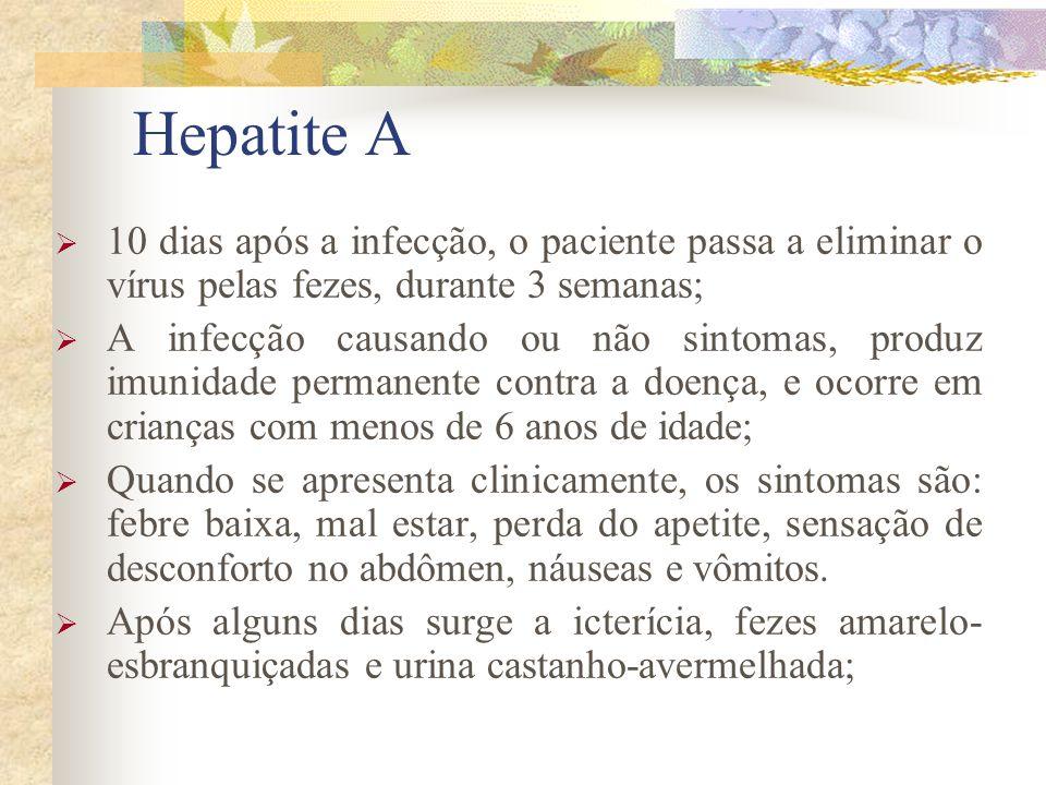 Hepatite A 10 dias após a infecção, o paciente passa a eliminar o vírus pelas fezes, durante 3 semanas;