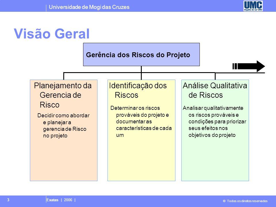 Visão Geral Planejamento da Gerencia de Risco Identificação dos Riscos