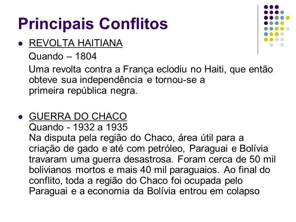 Principais Conflitos REVOLTA HAITIANA Quando – 1804