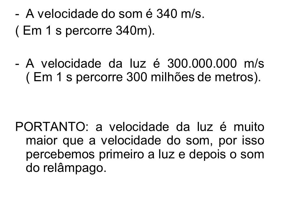 A velocidade do som é 340 m/s.