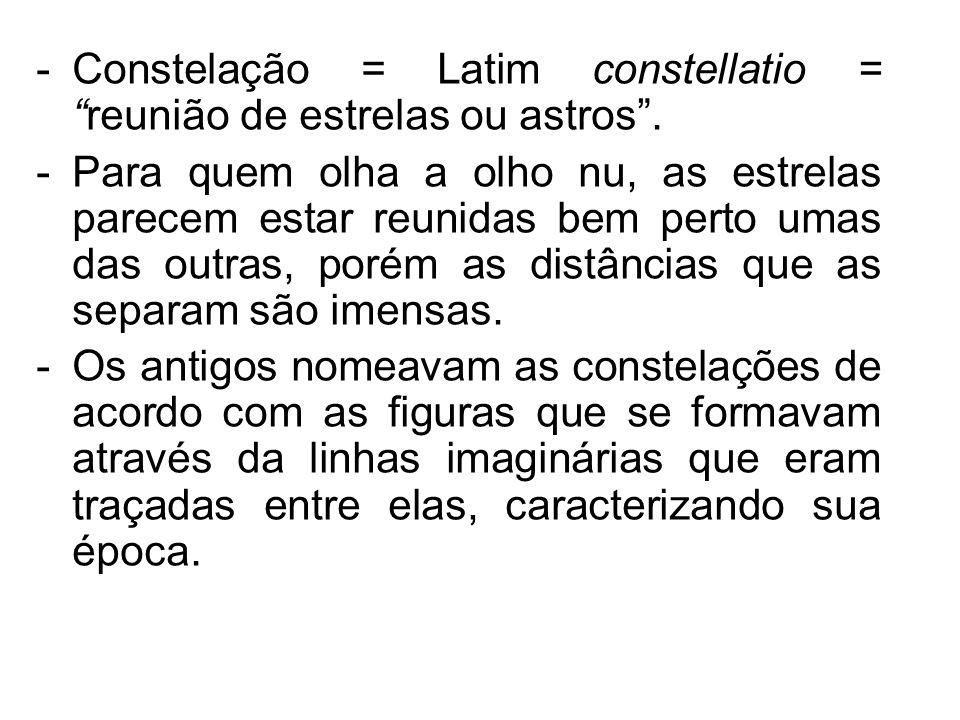 Constelação = Latim constellatio = reunião de estrelas ou astros .