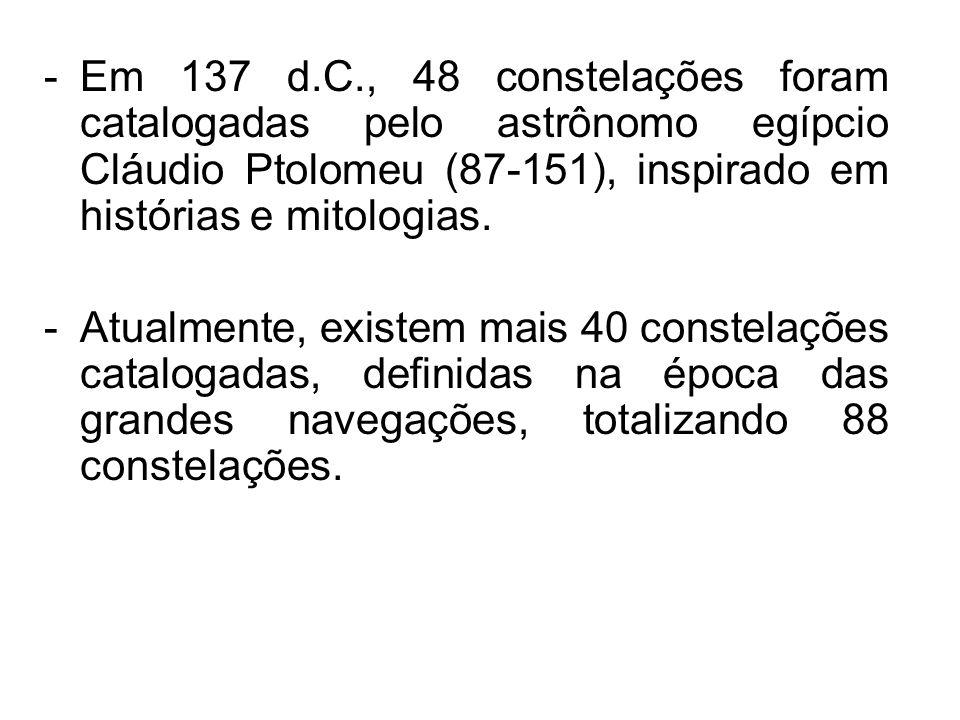 Em 137 d.C., 48 constelações foram catalogadas pelo astrônomo egípcio Cláudio Ptolomeu (87-151), inspirado em histórias e mitologias.