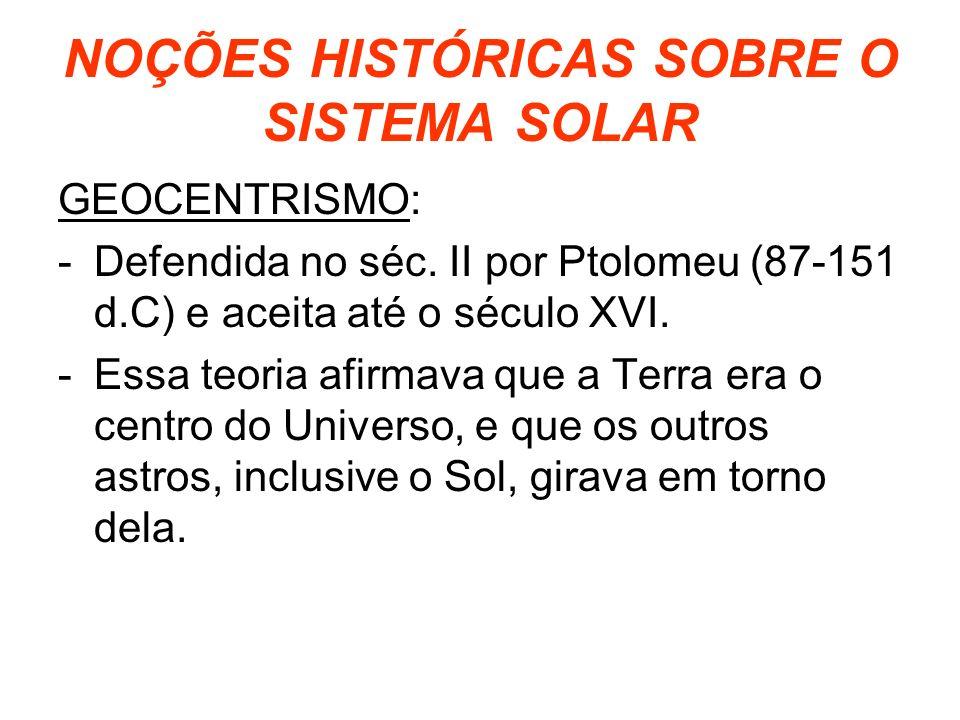 NOÇÕES HISTÓRICAS SOBRE O SISTEMA SOLAR
